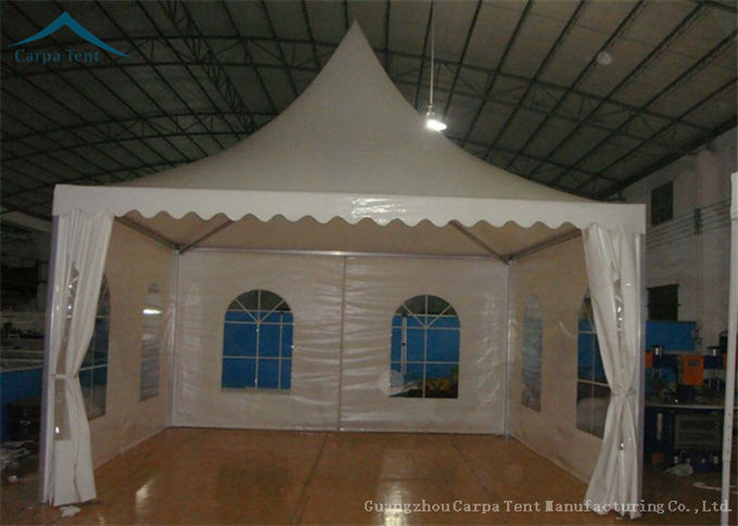 White PVC Small Pagoda Tents For Commercial Activities Wooden Flooring